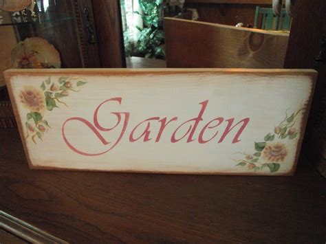 Garden Sign Hand Painted Shabby Roses Cottage Chic