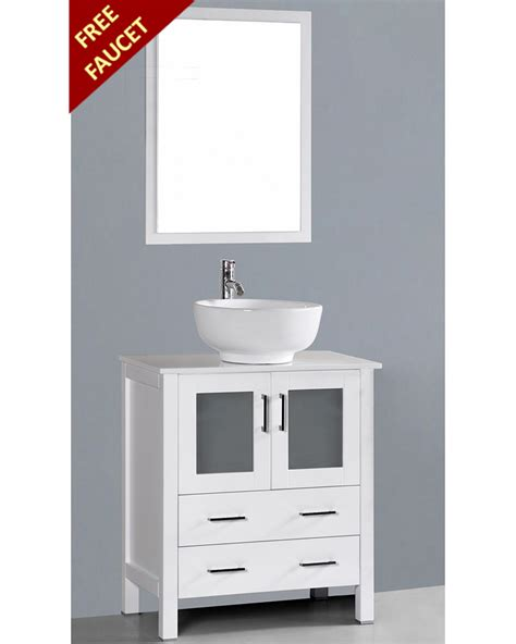 single vanity cabinet with vessel sink white 30in round vessel sink single vanity by bosconi