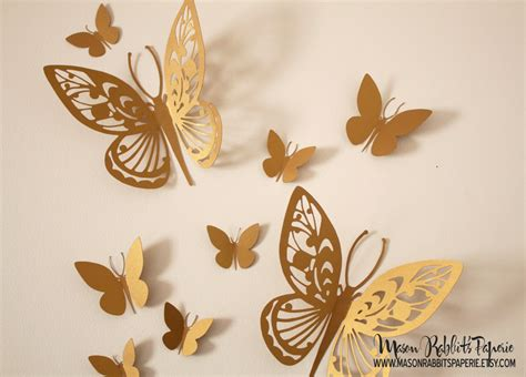 gold butterfly wall decal set  weddings wall decor