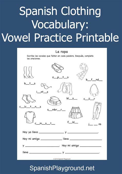 spanish clothing vocabulary vowel practice printable