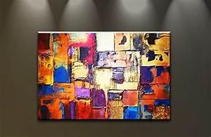 Tableau Moderne Salon : tableau peinture l 39 huile pas cher d co murale salon contemporain promotions 2018 ~ Teatrodelosmanantiales.com Idées de Décoration