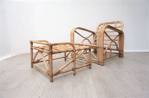 Ottoman Traduction by Manufacturer Unknown Vintage Rattan Armchair With