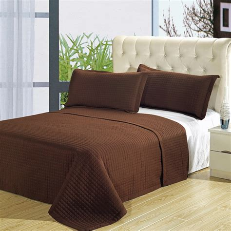 Brown Quilted Coverlet by Luxury Chocolate Brown Checkered Quilted Wrinkle Free