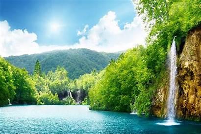 Nature Wallpapers Natural Latest Waterfall Summer Lake
