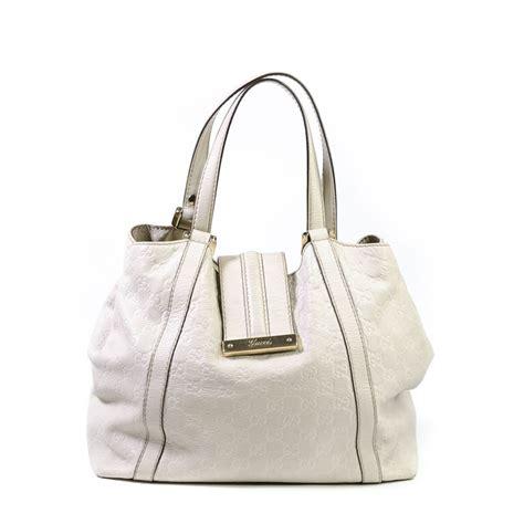 guccissima gg web  white leather tote bag