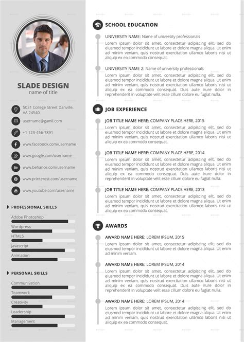 Professional Cv Template With Photo by Slade Professional Quality Cv Resume Template By