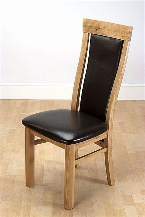 wexford oak dining chair with brown leather seat