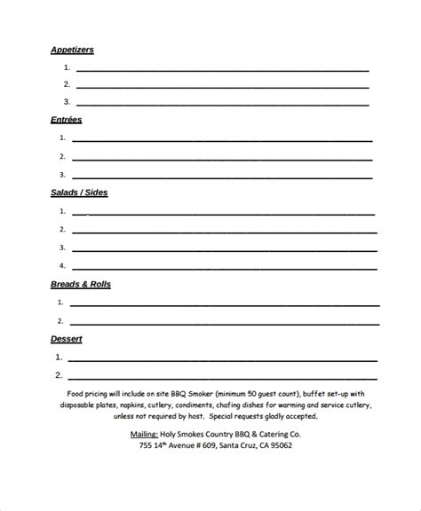 sample catering quote  documents   word