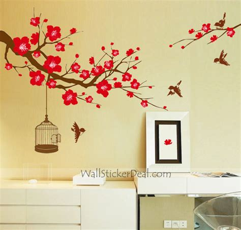 Wall Mural Decals Flowers by Plum Tree Flower With Birds And Birdcage Wall Stickers
