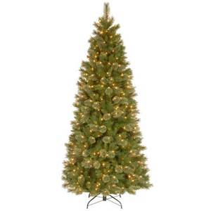 national tree company 7 1 2 ft tacoma pine slim hinged artificial christmas tree with 500 clear