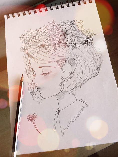 girl   flower tiara   head cute flower drawing flower sketches girl sketch