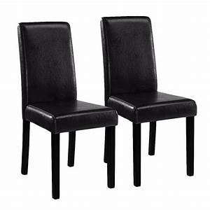 2 black leather contemporary parson pu restaurant dining With leather parsons dining room chairs