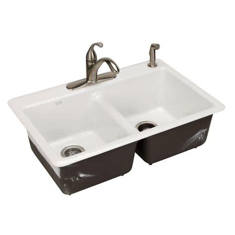 kohler kitchen sinks home depot kohler anthem cast iron self 33x22x9 5 8 2 8818