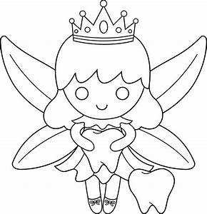 Cute Colorable Tooth Fairy - Free Clip Art