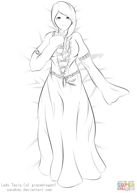 Lady Tacia Anime Girl by ZaveKey coloring page Free