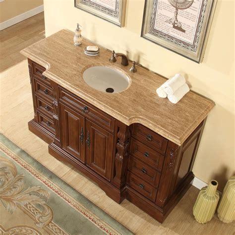60 Bathroom Vanities Sinks by Silkroad Exclusive 60 Quot Single Sink Cabinet Travertine