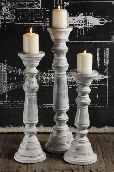 white wooden candle holders wood pillar candle holder white set of 3