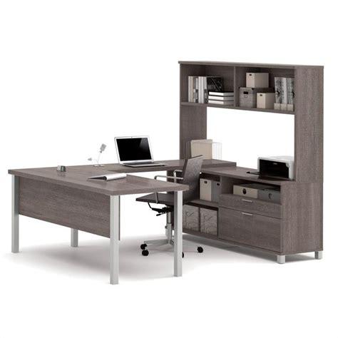gray desk with hutch bestar pro linea u desk with hutch in bark gray 120860 47