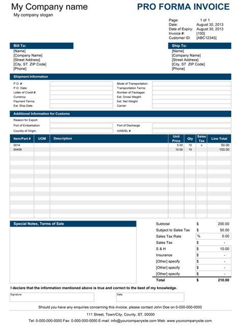 proforma invoice templates word excel fomats