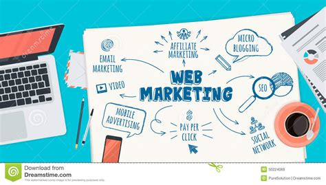 Web Marketing - flat design illustration concept for web marketing stock