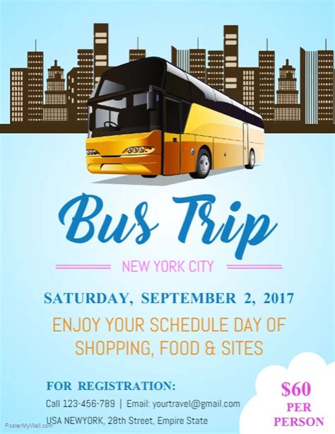 copy  blue bus trip flyer template postermywall
