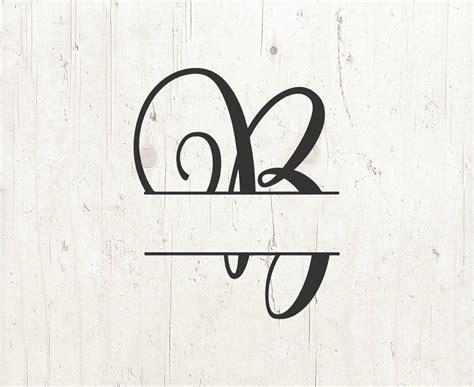 monogram split letter svg divided initial  svg swirl letter etsy
