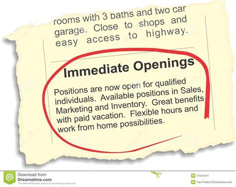Immediate Openings Job Ad Stock Vector. Illustration Of