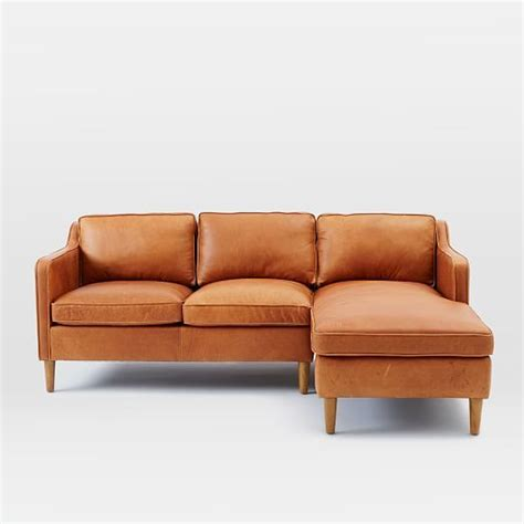 west elm leather hamilton 2 leather chaise sectional west elm 81 quot w