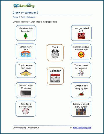 clock  calendar worksheet  learning