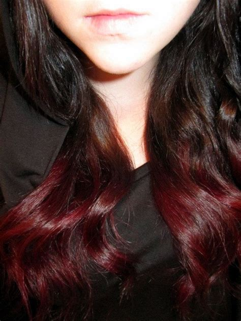Two Pieces Ombre Dip Dye Human Hair Extensions Dark