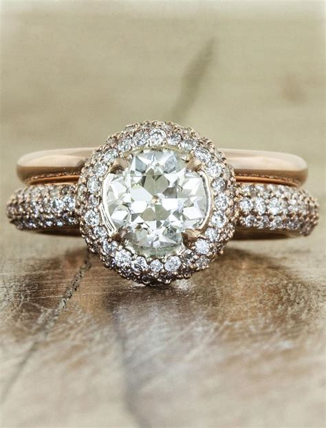 philomena halo  european cut heirloom diamond ring