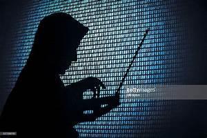 Computer hacker silhouette. Blue binary code background ...