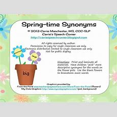 "Carrie's Speech Corner Springtime Synonyms (or, ""pick A Better Word"") Freebie"