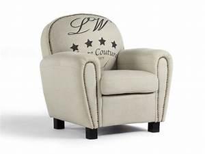 Fauteuil Club Tissu : fauteuil club winston en tissu imprim coloris beige ~ Teatrodelosmanantiales.com Idées de Décoration