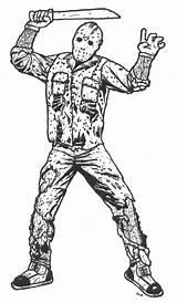Jason Voorhees Coloring Freddy Printable Drawing Friday 13th Template Sketch Scary Mewarnai Chibi Predator Krueger sketch template