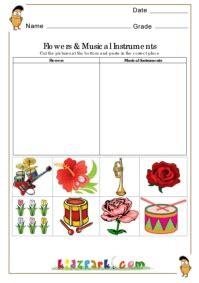 flower  musical instruments worksheetseducational