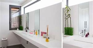 salle de bain lumineuse lampadaire design pour With carrelage adhesif salle de bain avec fixation bandeau led