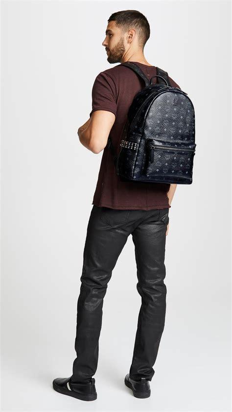 mcm stark medium side stud backpack  black  men lyst