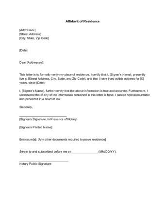 write  letter  proof  residence  sample