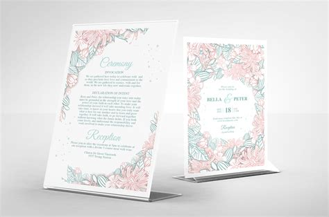 Modern Floral Wedding Invitation Template PSD Ai