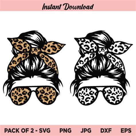 Svg, png, eps, jpeg, psd, pdf, dxf and ai. Leopard Messy Bun Girl SVG, Messy Bun Bandana Leopard SVG ...