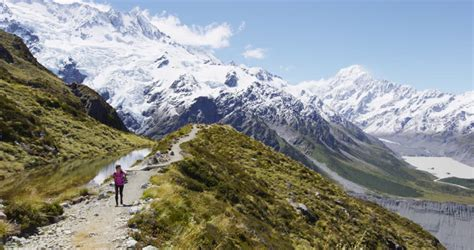 Travel Vacation Hiking People In Mountains On New Zealand