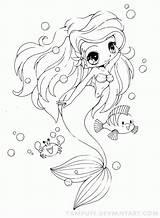 Coloring Mermaid Printable sketch template
