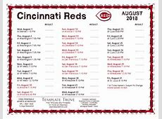 Printable 2018 Cincinnati Reds Schedule