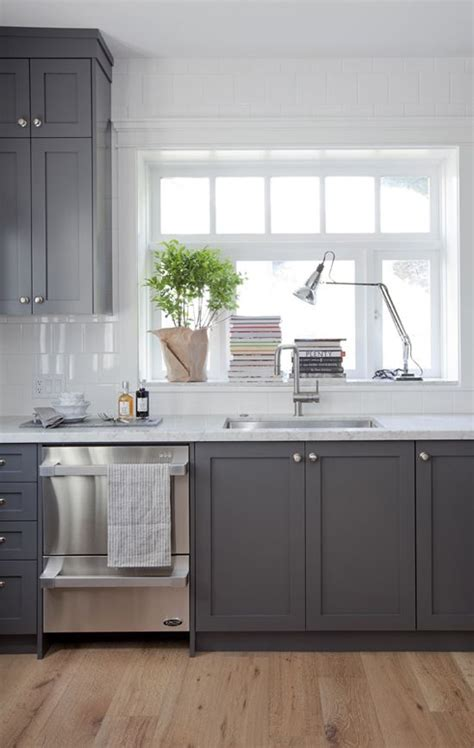 Kitchen Cabinet Colors And Countertops by Grey Cabinets And White Marble Counters In A Vancouver