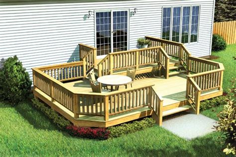 front to back split level house plans project plan 90042 two level deck w angle corners