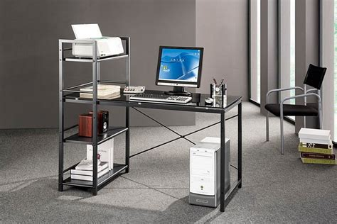 laptop desk with printer shelf glass computer desk with printer shelf and hutch