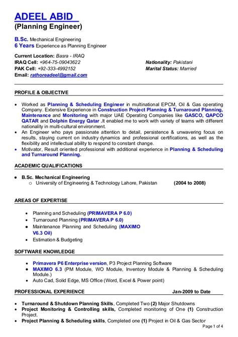 mechanical planning engineer resume resume planning engineer