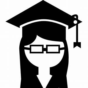 female college student with a graduation cap icon ...