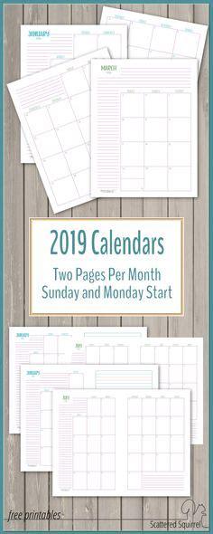scattered squirrel printables images calendar